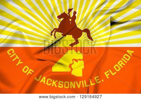 Waving Flag of Jacksonville Florida, with beautiful satin background.