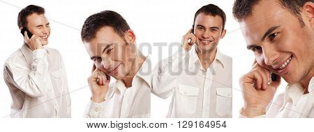 Collage of portraits of a business man wearing white shirt happy and joyful with phone isolated on white background