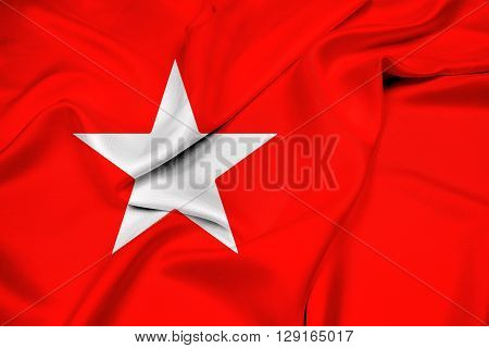 Waving Flag of Maastricht, with beautiful satin background.