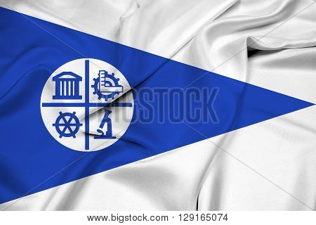 Waving Flag of Minneapolis Minnesota, with beautiful satin background.