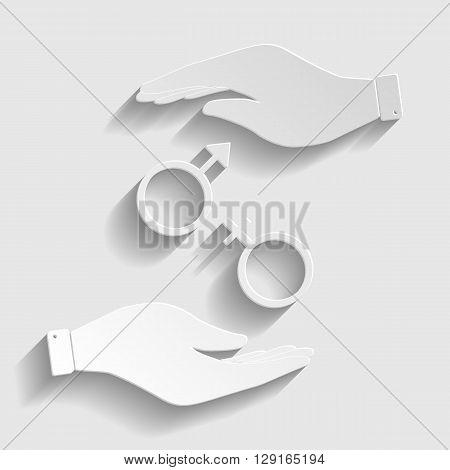 Sex symbol sign. Flat style icon vector illustration.