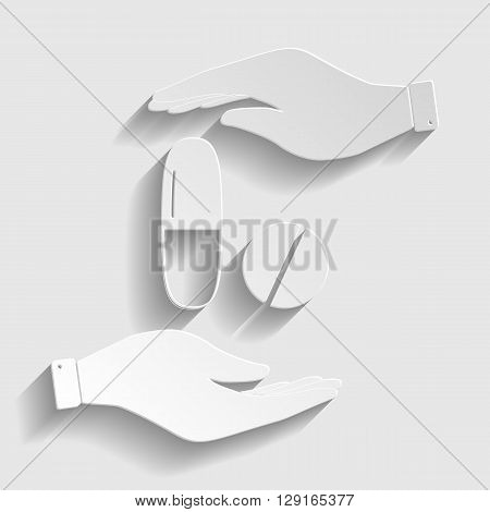 Medical pills sign. Save or protect symbol by hands. Paper style icon with shadow on gray.