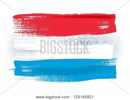 Luxembourg colorful brush strokes painted national country Luxembourgish flag icon. Painted texture.