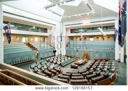 CANBERRA, AUSTRALIA - MAR 25, 2016: Interior view of  the House of Representatives in Parliament House, Canberra, Australia