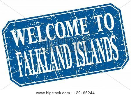 welcome to Falkland Islands blue square grunge stamp