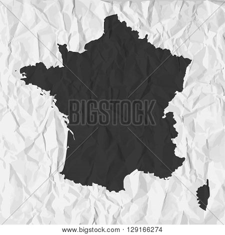 France map in black on a background crumpled paper