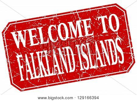 welcome to Falkland Islands red square grunge stamp