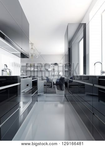 Modern black kitchen interior. Glossy cabinets black color with white acrylic countertop. Light grey polished concrete flooring. 3D render
