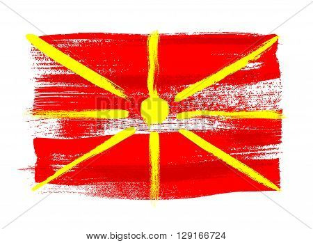 Macedonia colorful brush strokes painted national country Macedonian flag icon. Painted texture.