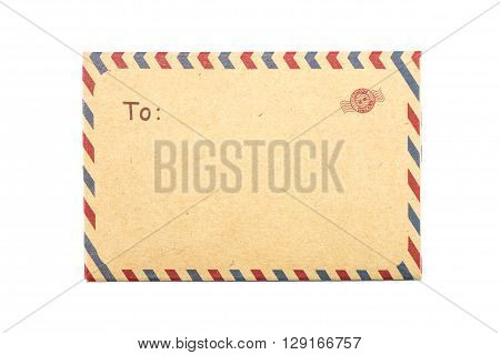 Closeup brown envelope isolated on white background