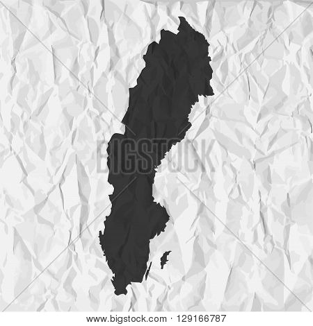 Sweden map in black on a background crumpled paper