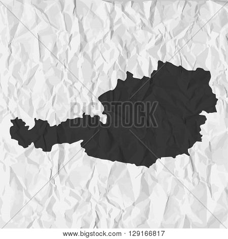 Austria map in black on a background crumpled paper