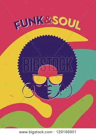 Disco party event flyer. Creative vintage poster. Vector retro style template. Black woman in sun glasses.