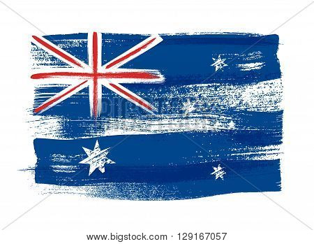 Australia colorful brush strokes painted national country Australian flag icon. Painted texture.
