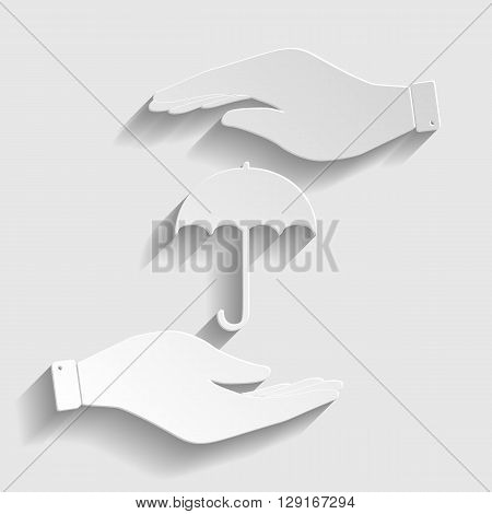 Umbrella sign icon. Rain protection symbol. Save or protect symbol by hands. Paper style icon with shadow on gray.