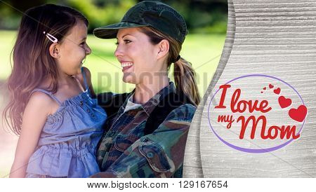 mothers day greeting against a soldier mother hugging her daughter