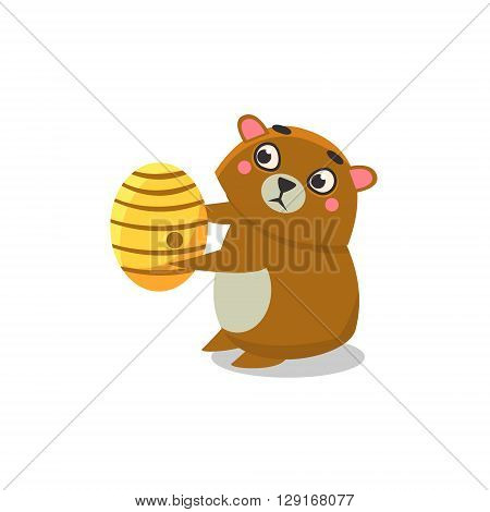 Brown Bear Holding Beehive Flat Primitive Geometric Design Vector Icon Isolated On White Background