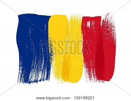 Romania colorful brush strokes painted national country Romanian flag icon. Painted texture.
