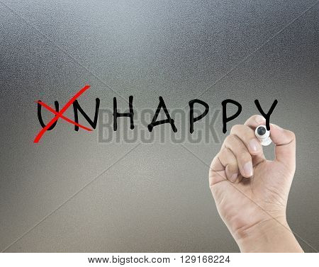 unhappy to happy on glass board with hand writing