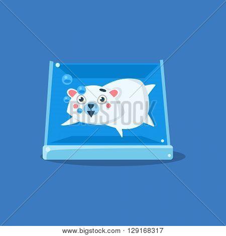 Polar Bear In Aquarium Flat Primitive Geometric Design Vector Icon Isolated On Blue Background