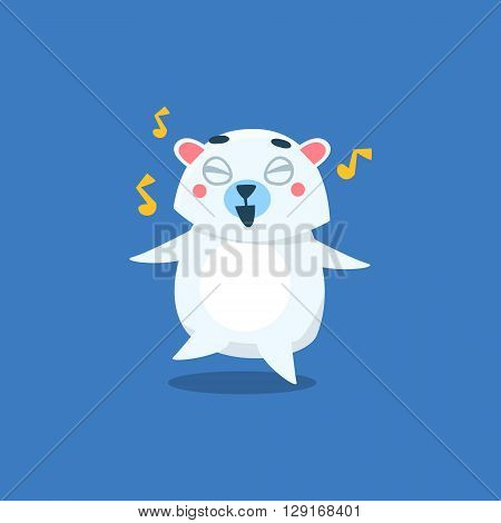 Dancing Polar Bear Flat Primitive Geometric Design Vector Icon Isolated On Blue Background