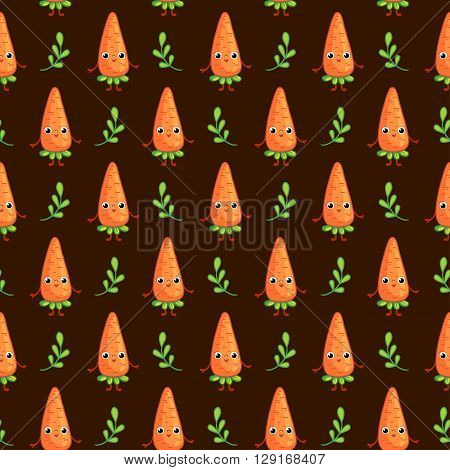 Vector seamless pattern with cute Carrots on dark background. Cartoon vegetable character Carrot.