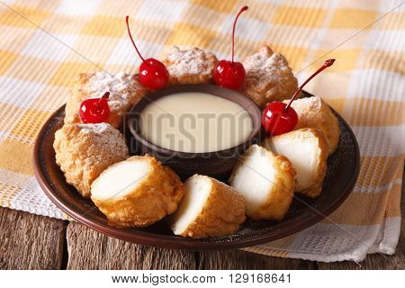Leche Frita And Condensed Milk, Decorated With Cherries Close-up. Horizontal