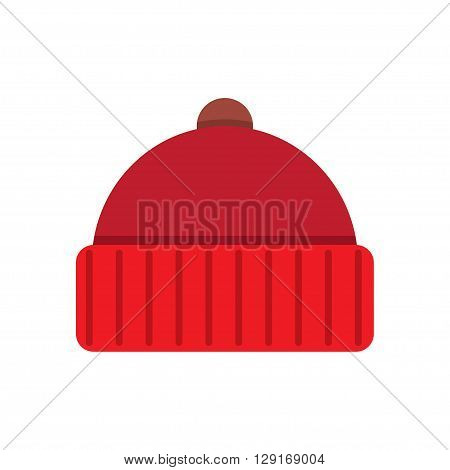Winter cap icon flat icon. vector illustration. Flat icon isolated on a white background