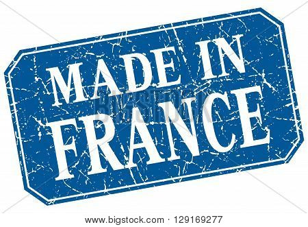 made in France blue square grunge stamp