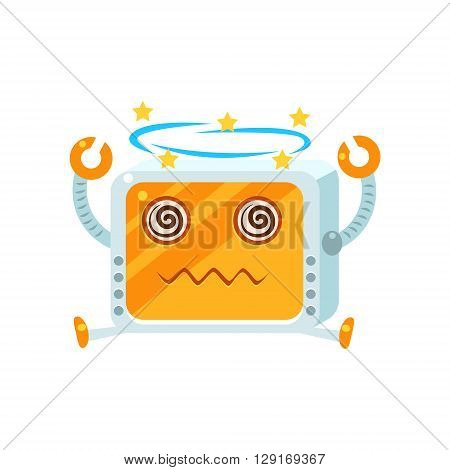 Dizzy Little Robot Character Simple Flat Vector Icon In Childish Cute Style Isolated On White Background