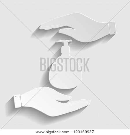 Gel, Foam Or Liquid Soap Dispenser Pump Plastic Bottle silhuette. Vector illustration.