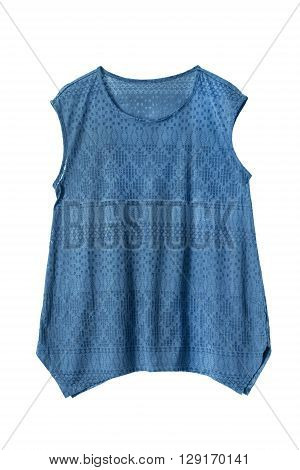 Blue lacy sleeveless top isolated over white