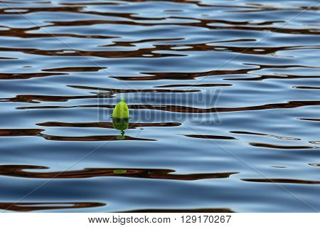 Yellow fishing bobber in the lake water