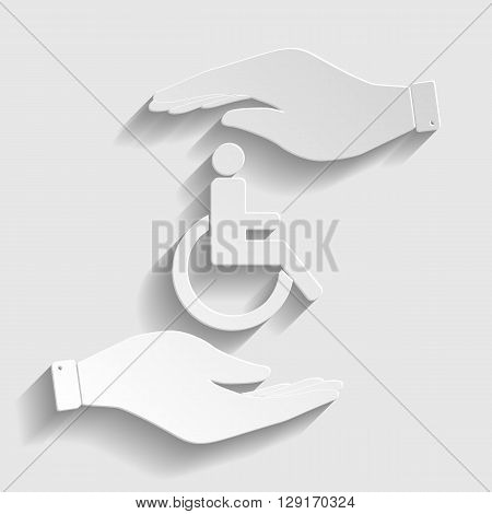 Disabled sign. Save or protect symbol by hands. Paper style icon with shadow on gray.