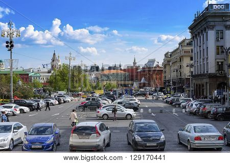 Moscow, Russia - May, 6, 2016: Veiw of a Revolution square in a center of Moscow, Russia