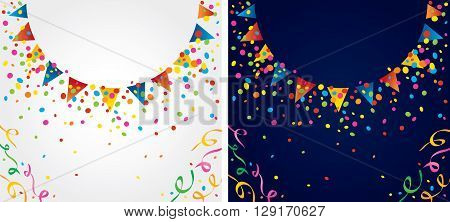 background with many colorful flags and confetti around a circular area