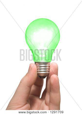 Green Light Bulb In Hand