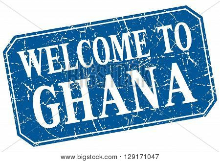 welcome to Ghana blue square grunge stamp
