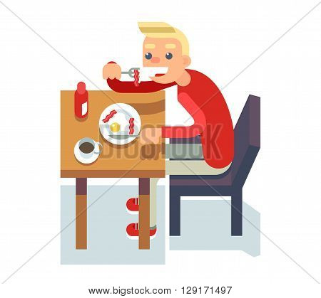 Eat breakfast coffee table chair guy fried eggs Isolated Flat Design Character Vector Illustration