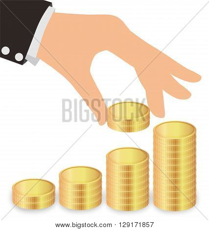 Business Hand Giving Golden Coins To Stacks Of Coins Saving Money Concept
