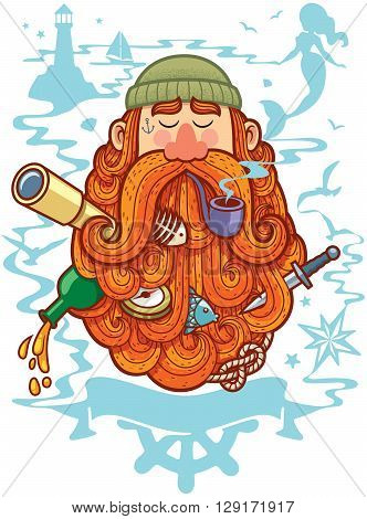 Concept illustration for marine life depicting sailor with big beard.