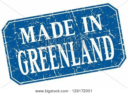 made in Greenland blue square grunge stamp