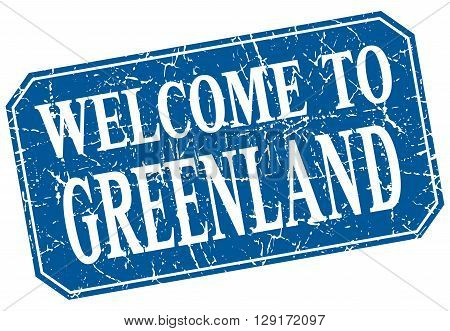 welcome to Greenland blue square grunge stamp