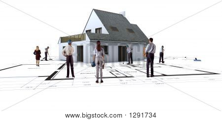 House On Architect'S Plans With People