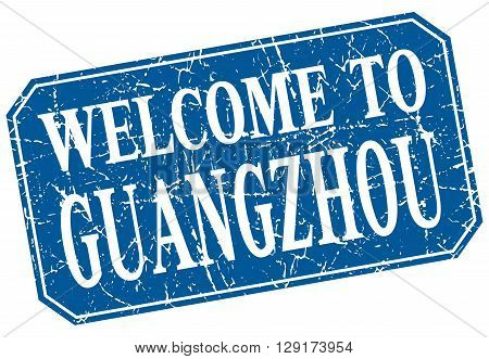 welcome to Guangzhou blue square grunge stamp