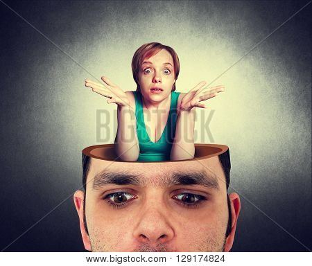 man with the open head and crazy woman