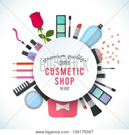 Professional quality cosmetics shop stylish logo. Accessories and cosmetics. Luxury cosmetics symbol. Organic store. Natural products. Elegant collection of treatment items. Flat illustration
