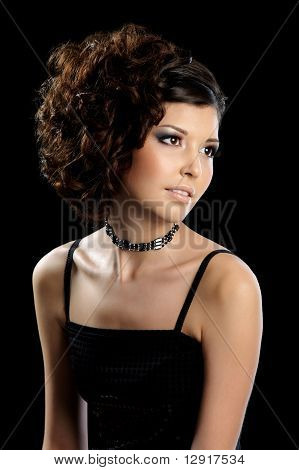 Beautiful Glamour Woman With Curly Hairstyle
