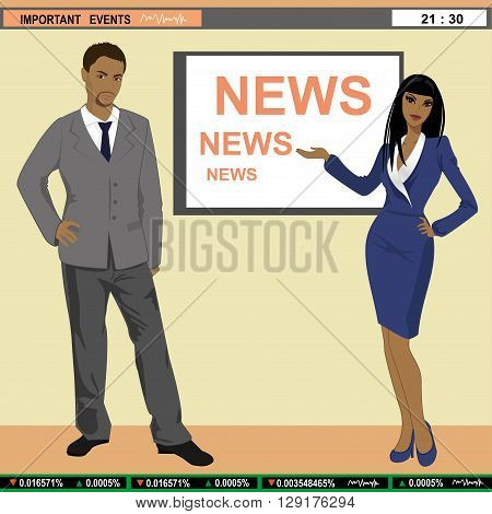 vector illustration of TV news anchors, man and woman