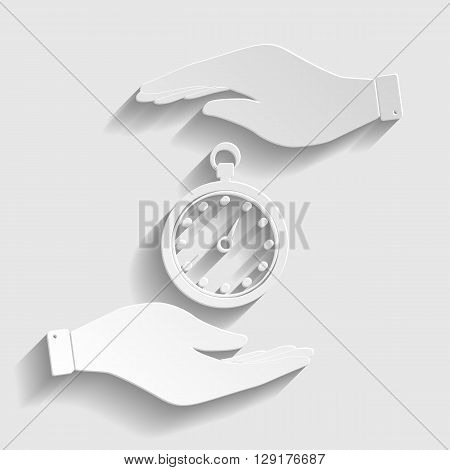 Stopwatch sign. Flat style icon vector illustration.